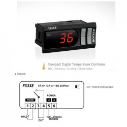 FX3S digital thermostat 150 º C 1 relay NTC5k