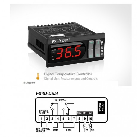 Digital thermostat FX3SE-16P-00-C 105ºC 1 relay NTC5K