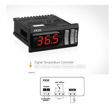 Termóstato digital FX3S 150ºC 1 relé NTC5K