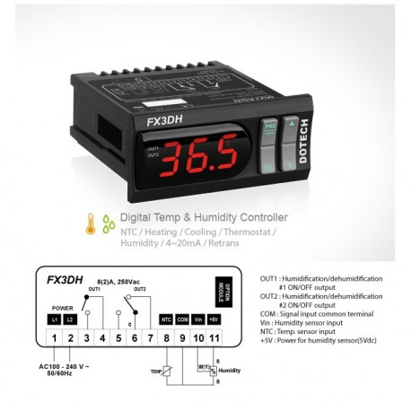 Digital temperature and humidity controller FX3DH-0