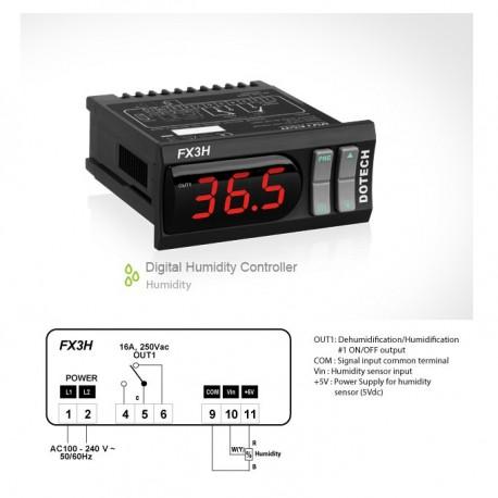 Controlador digital de humidade FX3H 1 saida de relé